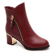 2017 New Women Boots Winter Women shoes Fur Ankle Boots High Heel Boots Warm Shoes Zapatos Mujer botas mujer plus size Black Red(China (Mainland))