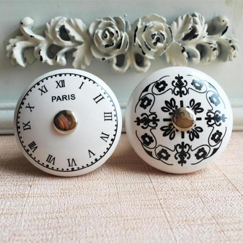 PARIS French ceramic handle digital clock pattern retro furniture Cabinet furniture handle drawer chest of drawers(China (Mainland))