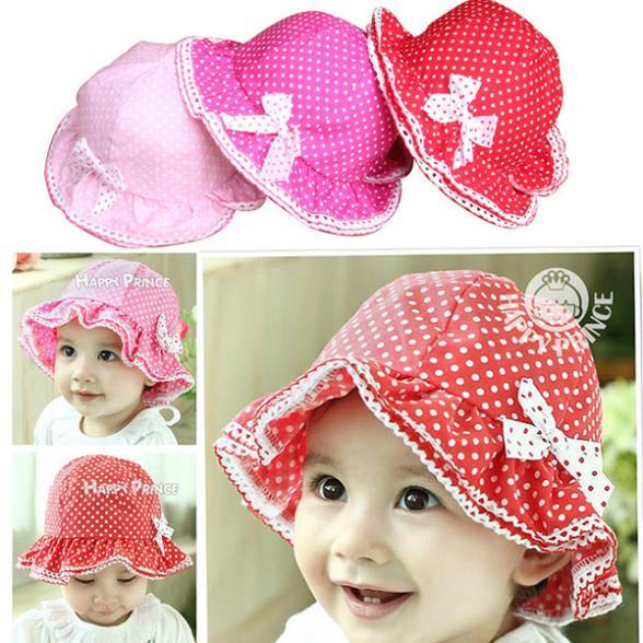 [해외]TOP Toddler Baby Girls Cotton Bow-knot Bucket Hat..