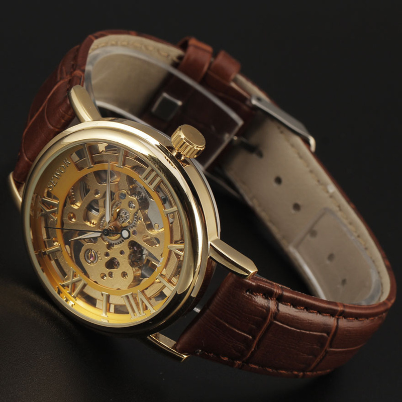 Hot! SEWOR Brand Watch Hollow Out Skeleton Men Mechanical Hand Wind Watches Relogio Masculino Leather Strap Casual Wristwatches<br><br>Aliexpress