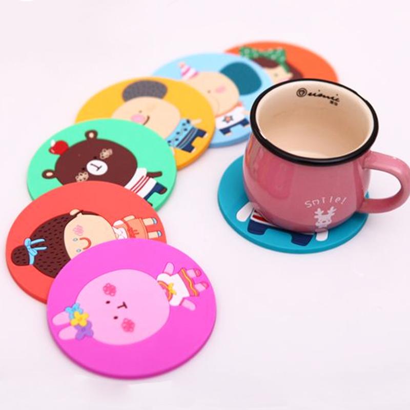 6pcs Lot Cute Cartoon Cup Coasters Silicone Drink Coaster