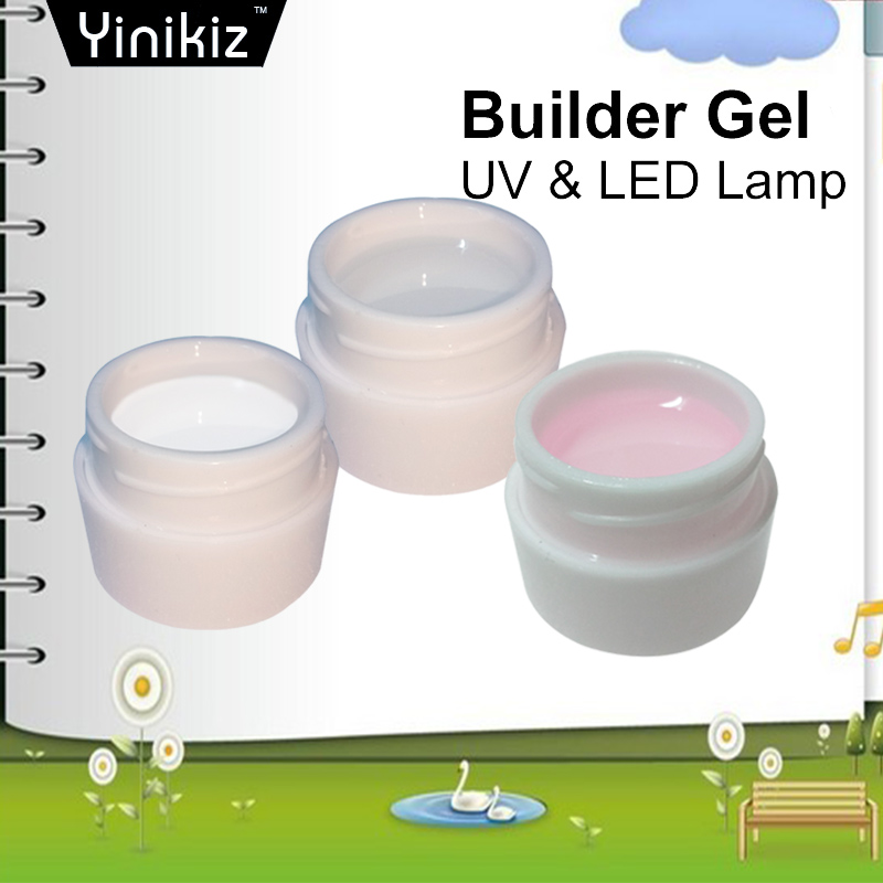 Yinikiz 8ml Builder Gel White Transparent Clear Pink 3 Color Camouflage Jelly Color Gel Nail Extending UV Gel High Quality(China (Mainland))