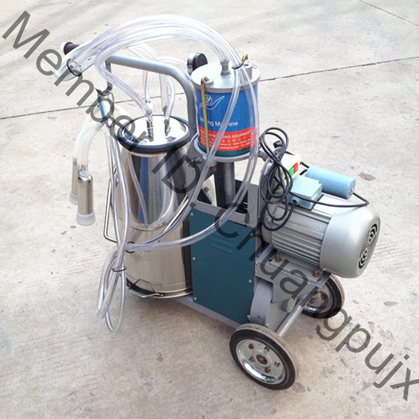 Labor Saving,Best Price Piston Pump Mobile Cow Milking Machine with Stainless Steel Single Bucket(China (Mainland))