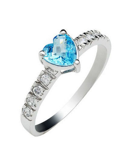 18k gold plated 925 sterling silver mount Swiss Blue color heart shape natural  topaz stone rings for women wedding fine jewelry<br><br>Aliexpress