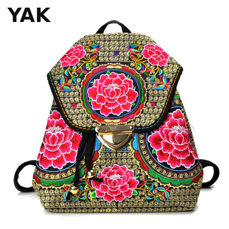 2016New design  Yunnan Embroidery Bag fashion  Belt Buckle Cover Backpack Folk Style canvas Travel Bags schoolbag backpacks moch<br><br>Aliexpress