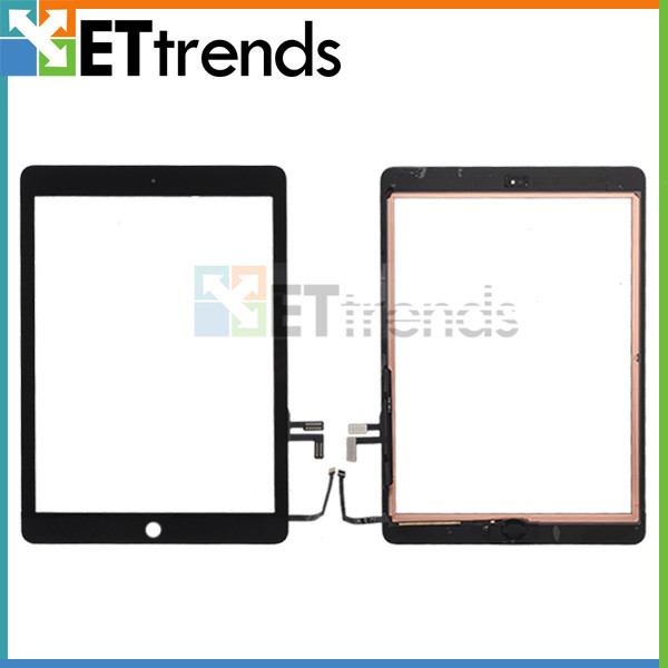 10PCS/LOT Touch Glass Screen Assembly for iPad air digitzer glass Panel screen With Home Button&Ahensive Free Shipping by DHL(China (Mainland))