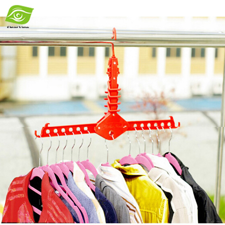 1PC Multifuntional Magic Plastic Hangers For Clothes Fashion 3 Colors Folding Clothes Rack Laundry Hanger(China (Mainland))