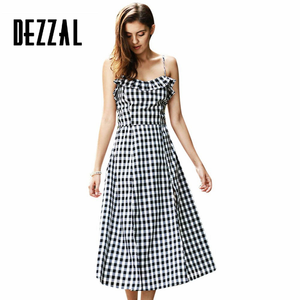 DEZZAL Summer Girl Spaghetti Strap Split Female Sundress Sexy Club Outside Woman Long Dress Strappy Gingham Ruffle Midi Dress(China (Mainland))