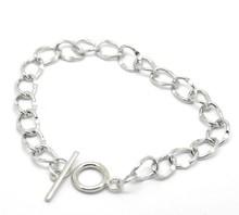 "Free Shipping! 4PCs Silver Tone Toggle Clasp Curb Chain Bracelets 22cm(8-5/8"") (B21044)(China (Mainland))"