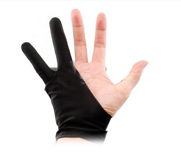 Black 2 finger anti-fouling gloves drawing writing painting digital tablet gloves free shipping wholesale(China (Mainland))