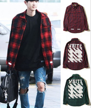 Pyrex OFF White Virgl Abolh men Casual Tartan plaid shirts Long sleeve Pyrex man casual Lattice Flannel shirt 13 red green