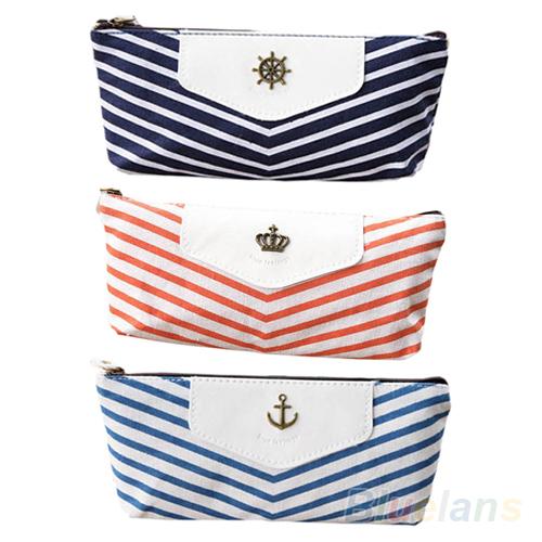 Гаджет  New Canvas Navy Marine Stripe Style Pencil Case Zipper Pouch Bag Pen Box  6YED None Офисные и Школьные принадлежности