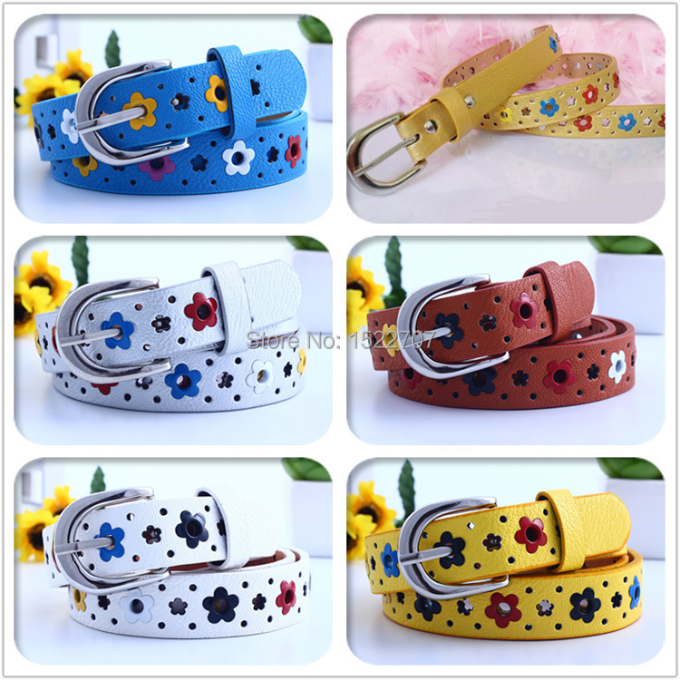 2015 New hollow butterfly flowers children lace belt boys and girls Brand PU leather belts women waistband for prety girl gift(China (Mainland))