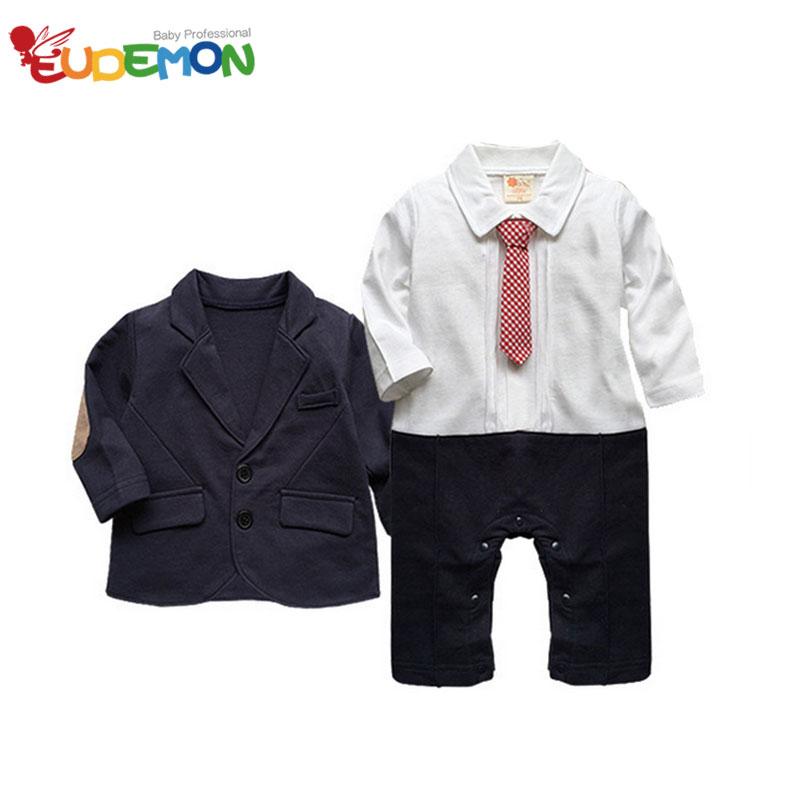 [Eudemon] Fashion Gentleman Baby Boys Set Long Sleeve Siamese Romper Cotton High Quality Boys Jacket New Style Boys Clothes Set(China (Mainland))