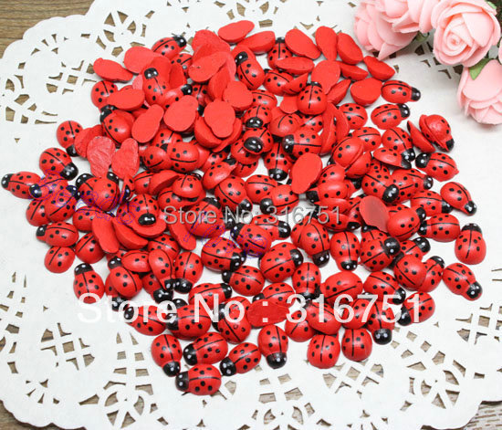 """Crafts Scrapbooking Beads 30Painted Wood Ladybug Craft Ornament 9*13mm (w02287) - """"beads love""""No minimum order store"""