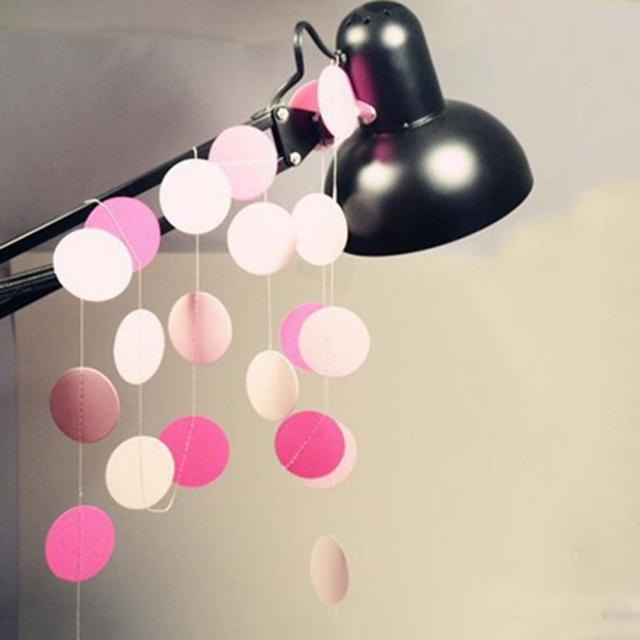 Paper Circle Garland Strings for Baby Shower Party, 3 Colors For Choose