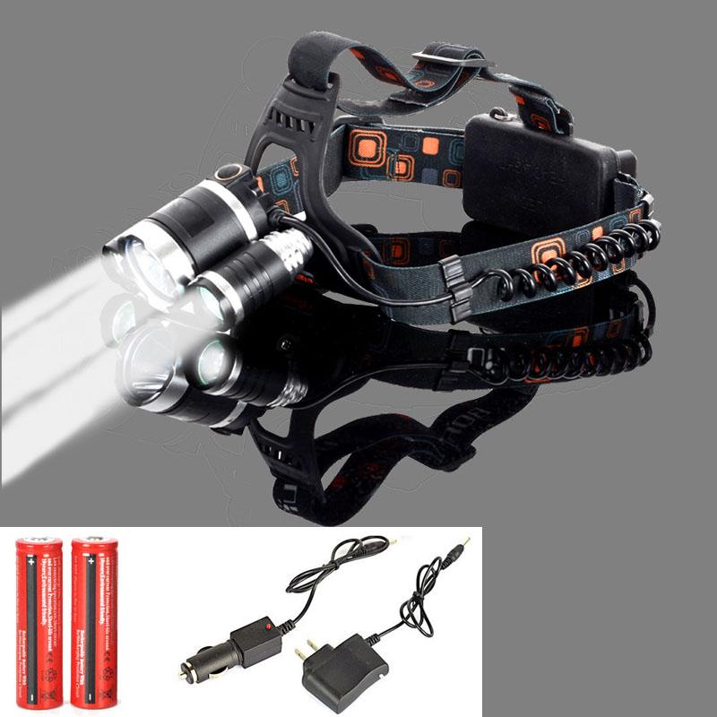 8000 Lumen CREE XM-L T6 Headlamp LED Headlight Caming Hunting Head Light Lamp 4 Modes +2*18650 Battery + AC/Car Charger(China (Mainland))