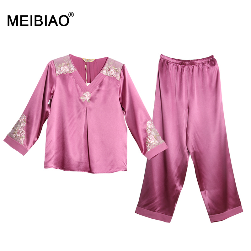 MEIBIAO-Top 10 Brands 100% Natural Silk 2015 Hot Sale Pajamas Women Pajama Set Girls Silk Sleepwear Women Nightgown 020191(China (Mainland))
