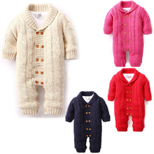 Baby Cotton One-piece Suit Long-Sleeved Romper Baby Infant Winter Warm Hoody Jumpsuit Newborn