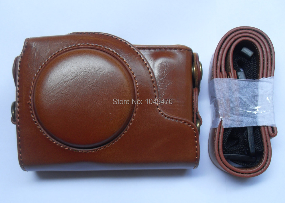 Wholesale 100% New Brown PU Leather Camera Case Bag Cover For Canon S120 S110 S100V Camera!Free Shipping!10pcs/lot~(China (Mainland))