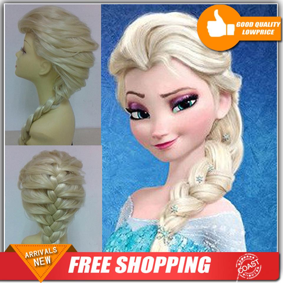 Free Shipping New Cartoon Movie Snow lady Wig Long Braid Cosplay Anime Wig ponytail Classic Halloween Hair(China (Mainland))