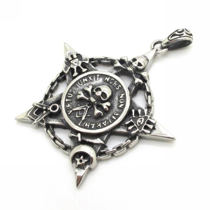 316L Stainless Steel Five Lines Law Skull Ghost Pendant For Men Vintage Style 2014 Black Five-Pointed Star Pendant(China (Mainland))