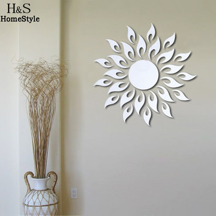 Beautiful Design 3D Wall Sticker Modern Bedroom Home Decor Decal Sun Flower Art Kids Room Sun Shape(China (Mainland))