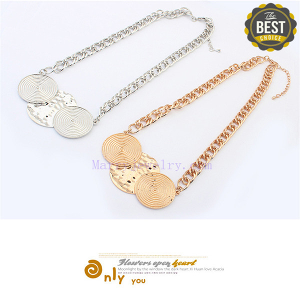 YesIdo Jewellery Retro Fashion Double Round Disk Antique Gold Plated Exquisite Geometric Women Necklaces (No.00675-1)(China (Mainland))