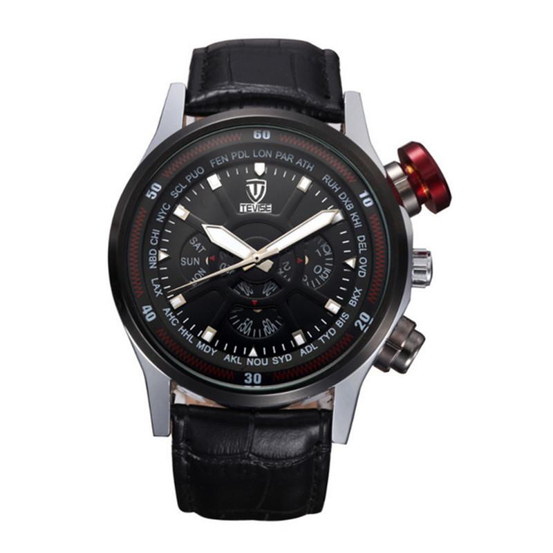 TEVISE luxury fashion brand watches mens calendar reloj hombre leather clock waterproof watch relogio masculino<br><br>Aliexpress