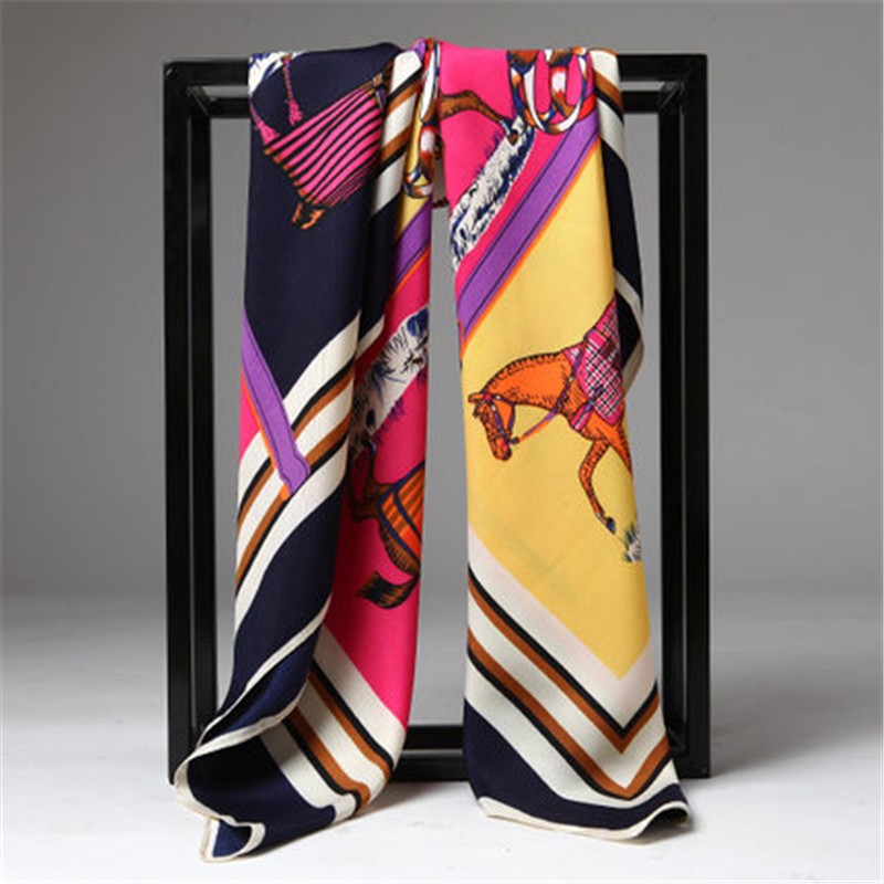 Twill Silk Women Scarf French Design Striped Horse Print Square Scarves 100*100 cm High Quality Gift Fashion Large Silk Shawls(China (Mainland))