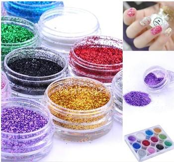 Hot Selling 12Colorful Metal Shiny Nair Art Glitter Power Kit Acrylic UV Powder Dust Polish