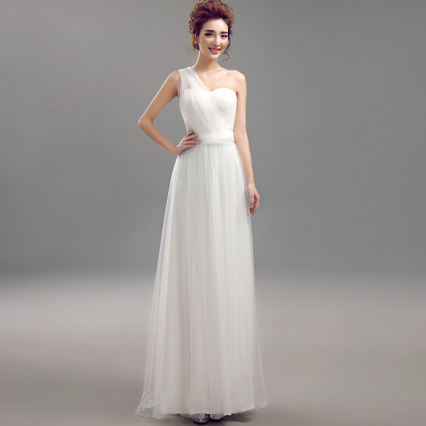 Elegant New White Convertible Bridesmaid Dresses 2015 Tulle Formal Wedding Party Prom Dress Gown