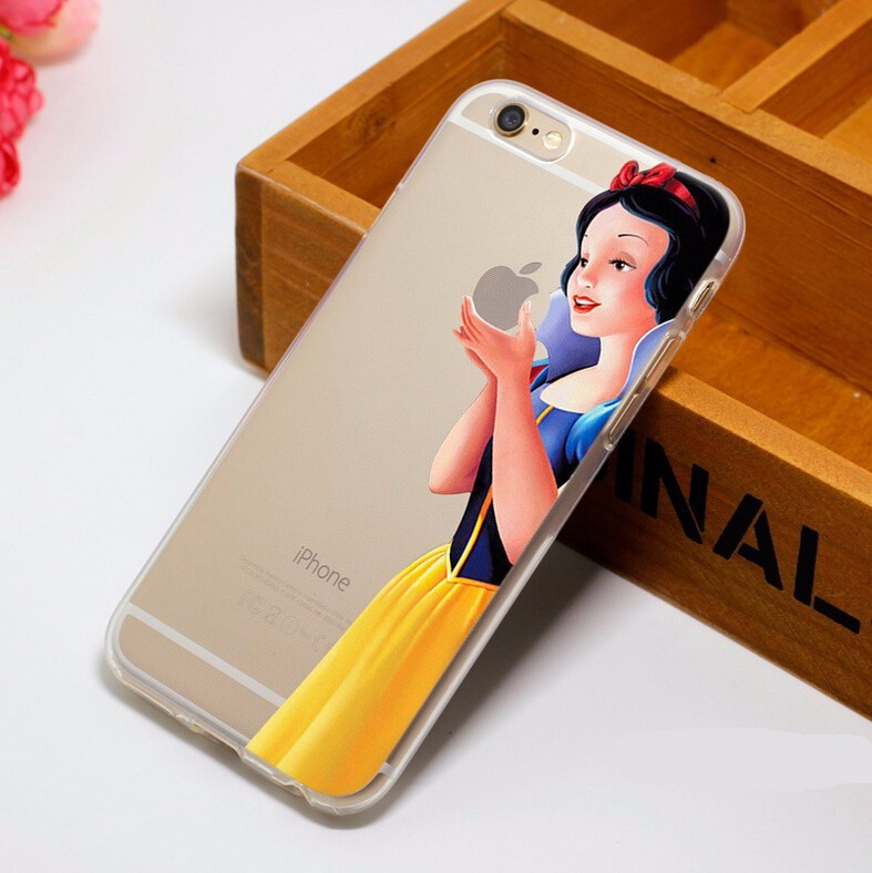 Luxury Cartoon Ariel little Mermaid Snow White eat the LOGO pattern Plastic Case For iPhone 4 4S 5 5S SE 5C 6 6S 6Plus 7 7Plus
