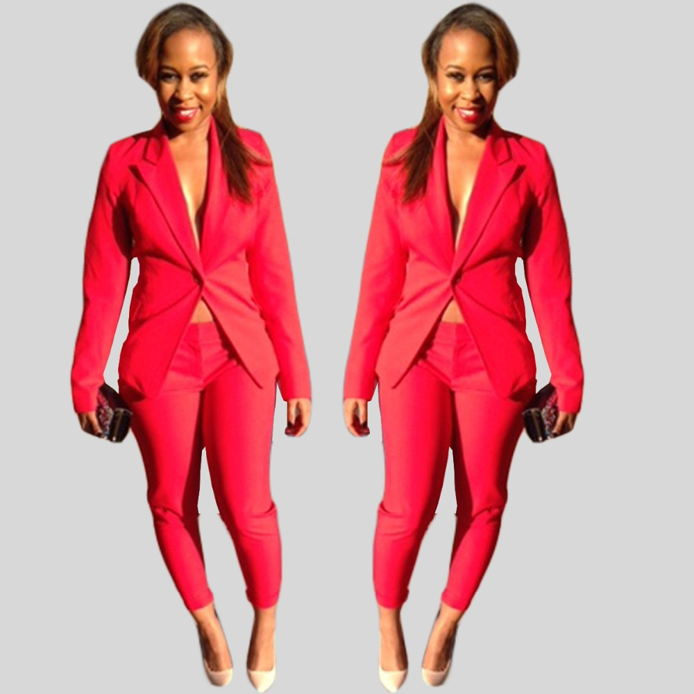 Simple Pant Suits Work Ideas Fashion Style Essence Black Red Suit Women