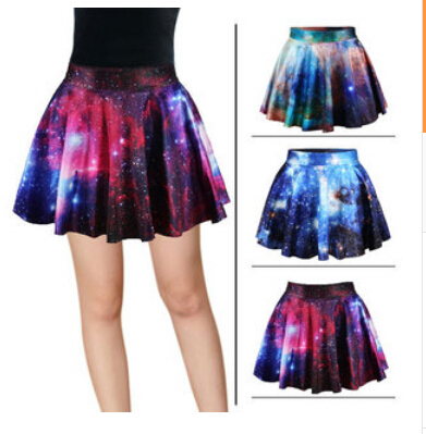 Women Skirts Summer 2015 Fashion Brand MIni Womens Galaxy Purple Pleated Skater Skirt High Waist Female - 168888 store