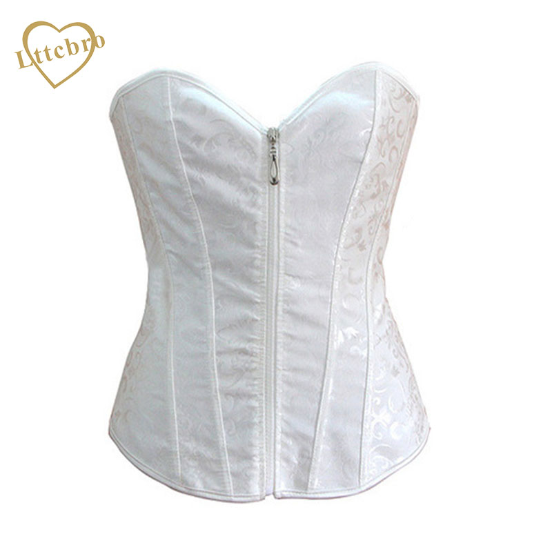 Zipper Corset Sexy Bustier Corpete Gothic Bridal White Wedding Lingerie Corselet Overbust Brocade Push Up Corsets Women No Trim(China (Mainland))