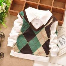 2016 new Autumn Casual College Style Grid Checked Baby Girls Kids Children Clothing Boys Long Sleeve T-shirt Tops S1473(China (Mainland))