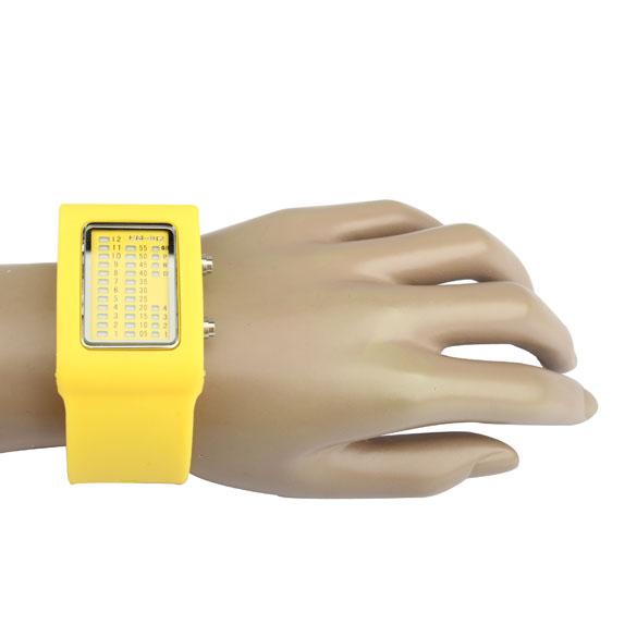 LED Watch Rubber Stainless Steel Back Watch Waterproof TVG LED Wrist Watch Yellow(China (Mainland))