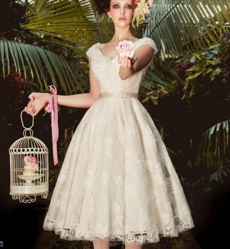 Custom made brides gowns western style high quality lace for Retro tea length wedding dresses