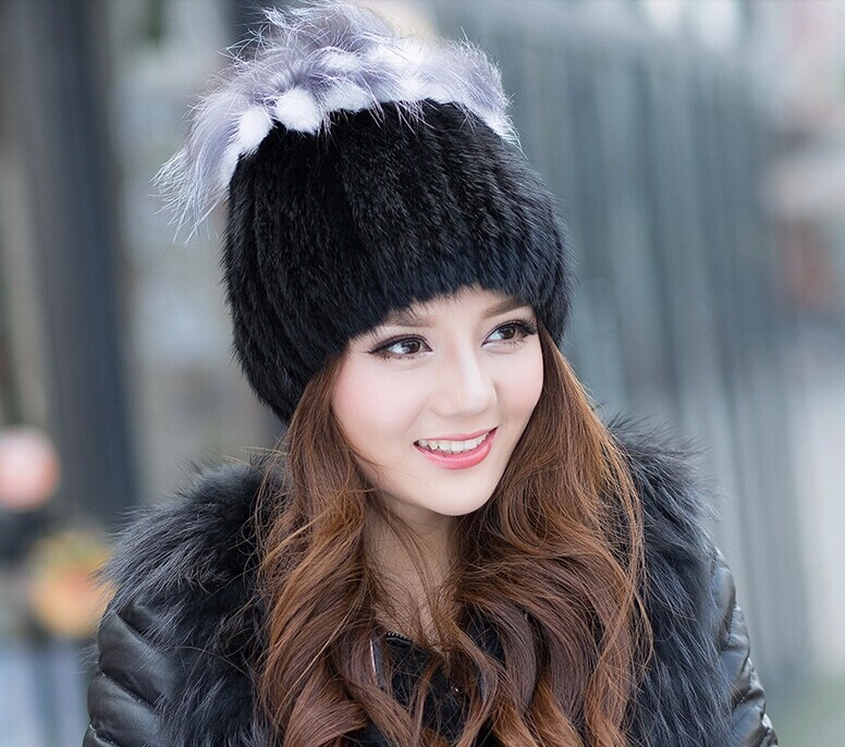 DL-10316 Women Winter Real Fur Beanies Cap Genuine Mink Hat Elastic Handmade Princess Knitted Hat with silver fox tops Headwear(China (Mainland))