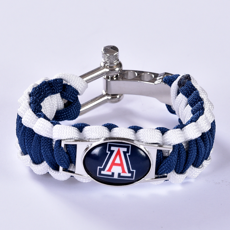 Arizona Wildcats Custom Paracord Bracelet NCAA College Football Charm Bracelet Survival Bracelet , Drop Shipping! 6Pcs/lot!(China (Mainland))