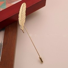Men Leaf Feather Brooch Pins Collar Suit Stick Breast Pin Lapel Pin Men's Suit Dress Up Unisex Jewelry