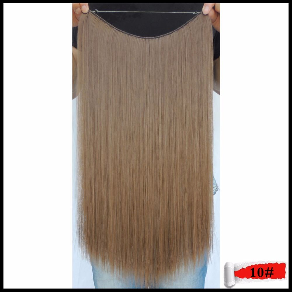 20inches Secret Mega Hair Extensions Ticking Grizzly Synthetic Extentions Haar Weaving Style Apply Halo 50cm Deep Chestnut Color(China (Mainland))