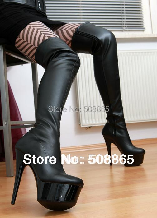 Spring women boots 15cm ultra high heels 4CM platform PU leather performance shoes, black plus size 12 - Dong guan Beauty Girl High Heels CO.,LTD store