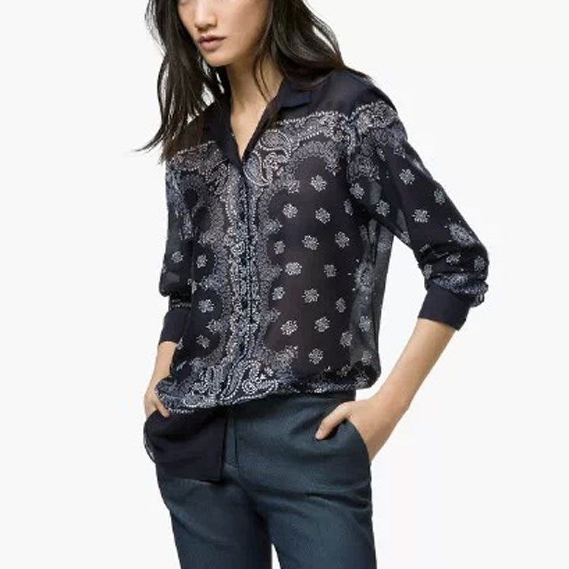 Fashion women vintage paisley pattern blouses long sleeve for Pattern shirts for women