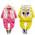 Baby Boys Girls Clothing Set Cartoon Minnie Mickey Coat T shirt Pants 3pcs Children Long sleeved