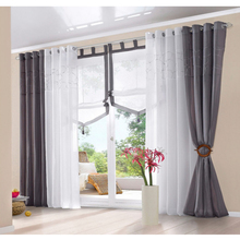 Dark Grey Sheer Polyester Door Window Curtain Drape Panel Curtains For Living Room Finished Curtains For Bedroom 1PC 140x245cm(China (Mainland))
