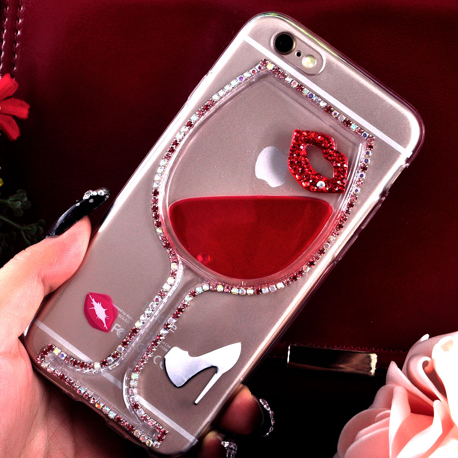 Red Wine Cup Liquid Transparent Case Cover For Apple iPhone 5 5s All Models Phone Cases Back Covers with Lip and High Heel(China (Mainland))