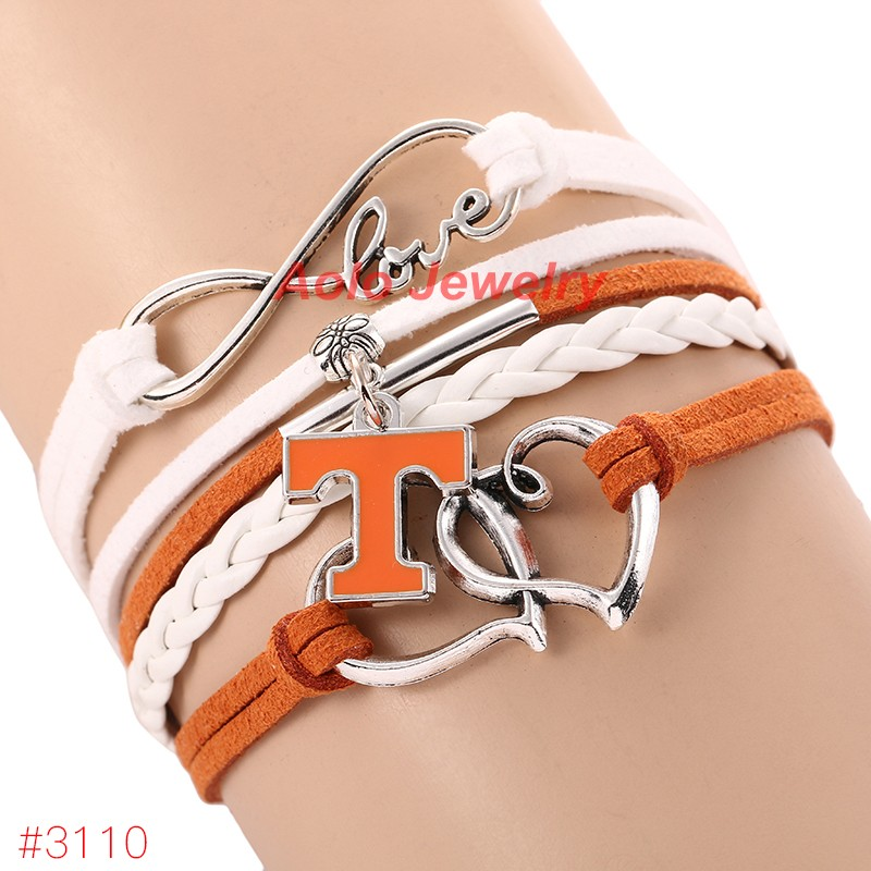Infinity Love Tennessee Volunteers College Football Bracelet 2016 New Leather Bracelet Fans Jewelry 6Pcs/Lot ! Free Shipping!(China (Mainland))