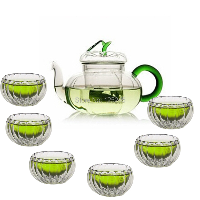 1 heat resistant glass teapot 6 double wall tea cups 7pcs set